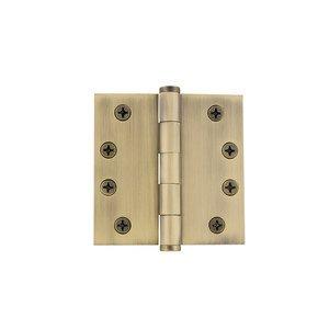 "Grandeur Door Hardware 4"" Button Tip Heavy Duty Hinge with Square Corners in Vintage Brass"