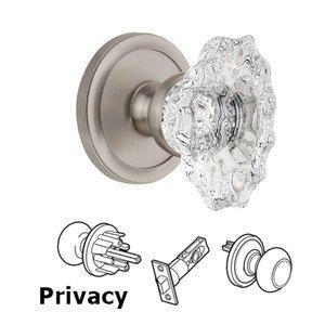 Grandeur Door Hardware Grandeur Circulaire Rosette Privacy with Biarritz Crystal Knob in Satin Nickel