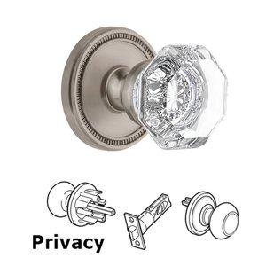 Grandeur Door Hardware Soleil Rosette Privacy with Chambord Crystal Knob in Satin Nickel
