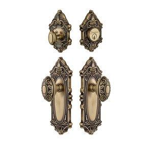 Grandeur Door Hardware Handleset - Grande Victorian Plate Knob & Deadbolt Set In Vintage Brass