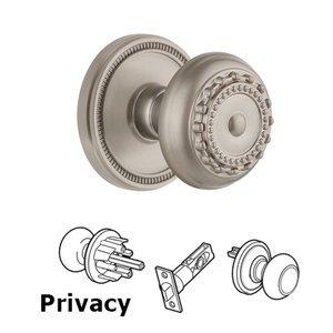 Grandeur Door Hardware Soleil Rosette Privacy with Parthenon Knob in Satin Nickel
