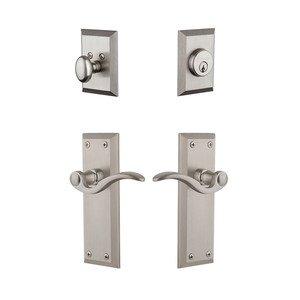 Grandeur Door Hardware Fifth Avenue Plate With Bellagio Lever & Matching Deadbolt In Satin Nickel