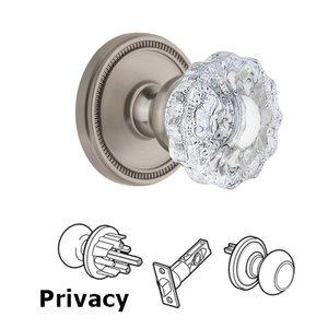 Grandeur Door Hardware Soleil Rosette Privacy with Versailles Crystal Knob in Satin Nickel