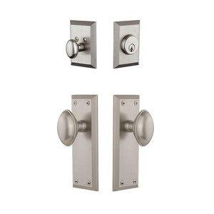 Grandeur Door Hardware Fifth Avenue Plate With Eden Prairie Knob & Matching Deadbolt In Satin Nickel