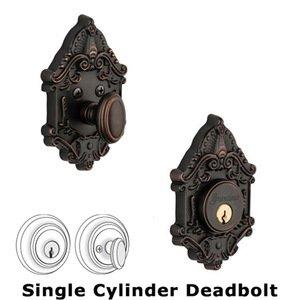 Grandeur Door Hardware Grandeur Single Cylinder Deadbolt with Grande Victorian Plate in Timeless Bronze