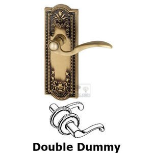 Grandeur Door Hardware Double Dummy Parthenon Plate with Bellagio Right Handed Lever in Vintage Brass