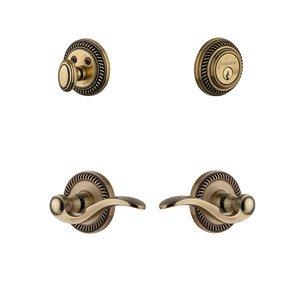 Grandeur Door Hardware Handleset - Newport Rosette With Bellagio Lever & Matching Deadbolt In Vintage Brass