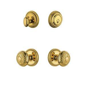 Grandeur Door Hardware Handleset - Newport Rosette with Windsor Knob & Matching Deadbolt in Lifetime Brass