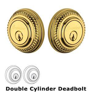 Grandeur Door Hardware Grandeur Double Cylinder Deadbolt with Newport Plate in Lifetime Brass