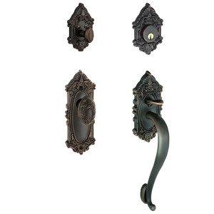 """Grandeur Door Hardware Handleset - Grande Victorian with """"S"""" Grip and Grande Victorian Door Knob in Timeless Bronze"""