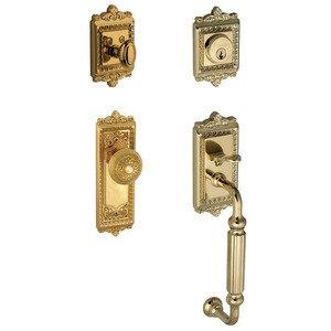 """Grandeur Door Hardware Handleset - Windsor with """"F"""" Grip and Windsor Door Knob in Lifetime Brass"""