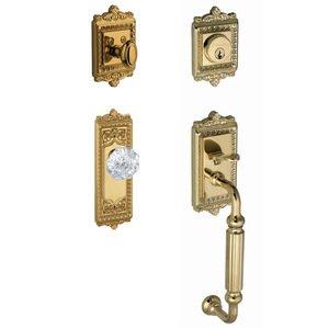 """Grandeur Door Hardware Handleset - Windsor with """"F"""" Grip and Chambord Crystal Door Knob in Lifetime Brass"""
