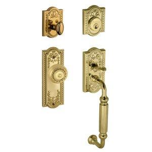 """Grandeur Door Hardware Handleset - Parthenon with """"F"""" Grip and Parthenon Door Knob in Lifetime Brass"""