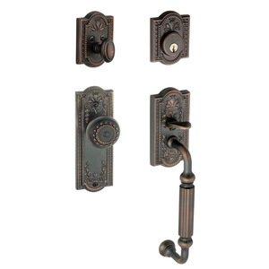 """Grandeur Door Hardware Handleset - Parthenon with """"F"""" Grip and Parthenon Door Knob in Timeless Bronze"""