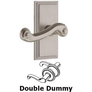 Grandeur Door Hardware Grandeur Carre Plate Double Dummy with Newport Lever in Satin Nickel