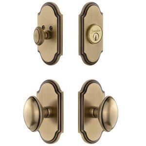 Grandeur Door Hardware Handleset - Arc Plate With Eden Prairie Knob & Matching Deadbolt In Vintage Brass