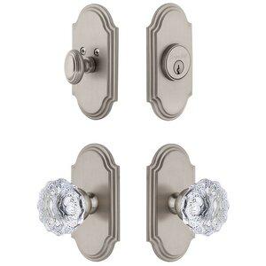 Grandeur Door Hardware Handleset - Arc Plate With Fontainebleau Crystal Knob & Matching Deadbolt In Satin Nickel