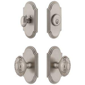 Grandeur Door Hardware Arc Plate With Grande Victorian Knob & Matching Deadbolt In Satin Nickel
