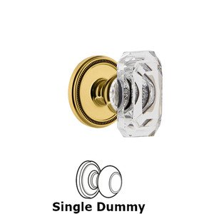 Grandeur Door Hardware Soleil - Dummy Knob with Baguette Clear Crystal Knob in Lifetime Brass