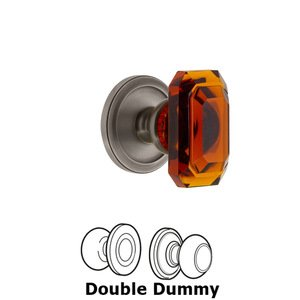 Grandeur Door Hardware Circulaire - Double Dummy Knob with Baguette Amber Crystal Knob in Antique Pewter