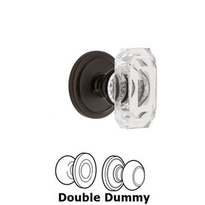 Grandeur Door Hardware Circulaire - Double Dummy Knob with Baguette Clear Crystal Knob in Timeless Bronze
