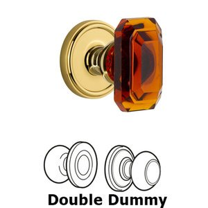Grandeur Door Hardware Georgetown - Double Dummy Knob with Baguette Amber Crystal Knob in Lifetime Brass