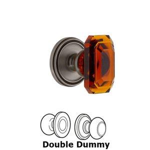 Grandeur Door Hardware Soleil - Double Dummy Knob with Baguette Amber Crystal Knob in Antique Pewter