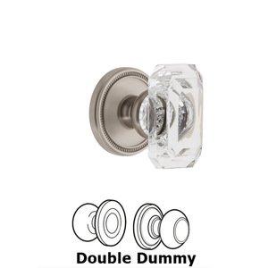 Grandeur Door Hardware Soleil - Double Dummy Knob with Baguette Clear Crystal Knob in Satin Nickel
