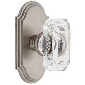 Grandeur Door Hardware Arc - Privacy Knob with Baguette Clear Crystal Knob in Satin Nickel