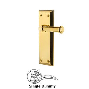 Grandeur Door Hardware Single Dummy Fifth Avenue Plate with Georgetown Left Handed Lever in Lifetime Brass