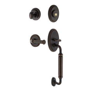 Grandeur Door Hardware Grandeur Georgetown Plate C Grip Entry Set Georgetown Lever in Timeless Bronze