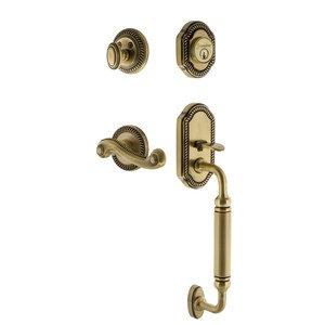 Grandeur Door Hardware Grandeur Newport Plate C Grip Entry Set Newport Lever in Vintage Brass