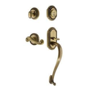 Grandeur Door Hardware Grandeur Newport Plate S Grip Entry Set Newport Lever in Vintage Brass