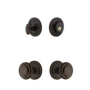 Grandeur Door Hardware Handleset - Circulaire Rosette Knob & Deadbolt Set In Timeless Bronze