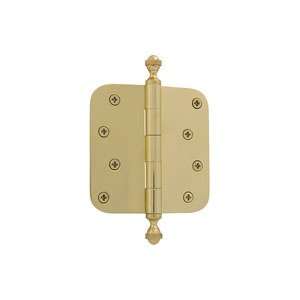 "Grandeur Door Hardware 4"" Acorn Tip Residential Hinge with 5/8"" Radius Corners in Polished Brass"