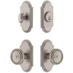 Grandeur Door Hardware Handleset - Arc Plate With Soleil Knob & Matching Deadbolt In Satin Nickel