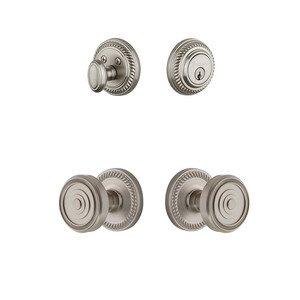 Grandeur Door Hardware Handleset - Newport Rosette With Soleil Knob & Matching Deadbolt In Satin Nickel