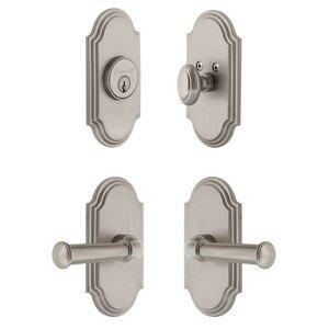 Grandeur Door Hardware Handleset - Arc Plate With Georgetown Lever & Matching Deadbolt In Satin Nickel