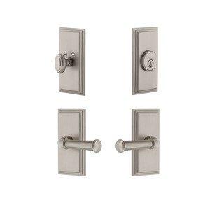 Grandeur Door Hardware Handleset - Carre Plate With Georgetown Lever & Matching Deadbolt In Satin Nickel
