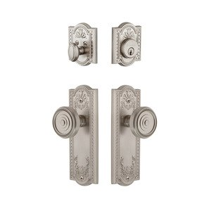 Grandeur Door Hardware Handleset - Parthenon Plate With Soleil Knob & Matching Deadbolt In Satin Nickel