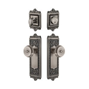 Grandeur Door - Handleset - Windsor Plate With Bouton Knob & Matching Deadbolt In Antique Pewter