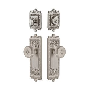 Grandeur Door Hardware Windsor Plate With Bouton Knob & Matching Deadbolt In Satin Nickel