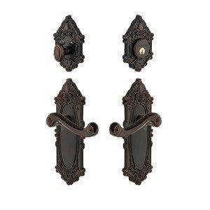 Grandeur Door - Handleset - Grande Victorian Plate With Newport Lever & Matching Deadbolt In Timeless Bronze