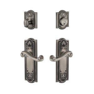Grandeur Door Hardware Handleset - Parthenon Plate With Newport Lever & Matching Deadbolt In Antique Pewter