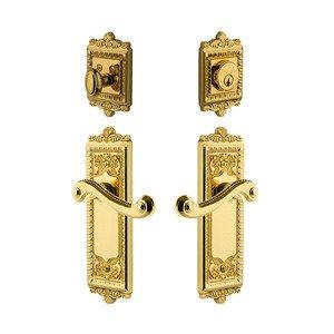 Grandeur Door Hardware Handleset - Windsor Plate With Newport Lever & Matching Deadbolt In Lifetime Brass