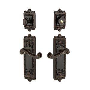 Grandeur Door - Handleset - Windsor Plate With Newport Lever & Matching Deadbolt In Timeless Bronze