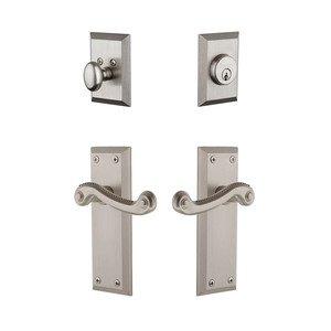 Grandeur Door Hardware Handleset - Fifth Avenue Plate With Newport Lever & Matching Deadbolt In Satin Nickel