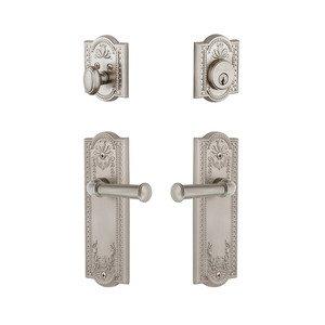 Grandeur Door Hardware Parthenon Plate With Georgetown Lever & Matching Deadbolt In Satin Nickel