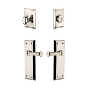 Grandeur Door - Handleset - Fifth Avenue Plate With Georgetown Lever & Matching Deadbolt In Polished Nickel