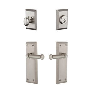 Grandeur Door Hardware Fifth Avenue Plate With Georgetown Lever & Matching Deadbolt In Satin Nickel
